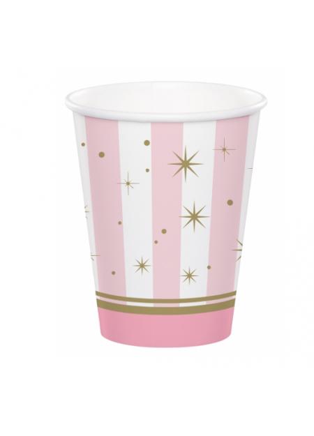 8 bicchieri ballerina rosa e oro