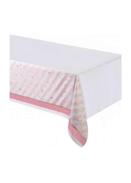 Tovaglia di plastica ballerina righe rosa e bianche